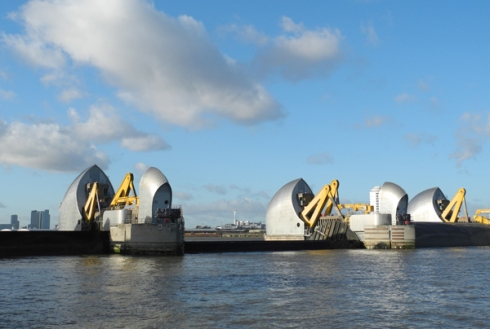 Thames Barrier gates being raised