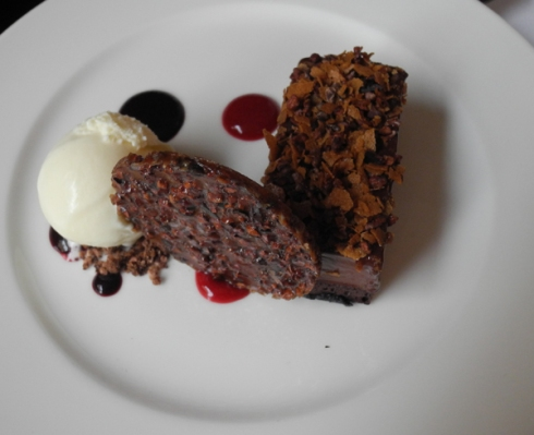 The Valhrona chocolate torte