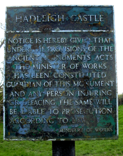 Danger sign Hadleigh Castle