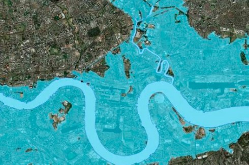 Area of flooding if Thames Barrier not raised Dec 2013